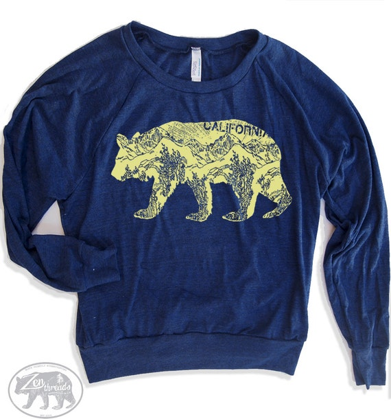 Womens California BEAR Tri-Blend Pullover - american apparel S M L (8 Color Options)