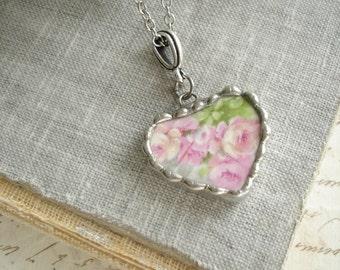 Broken China Heart Necklace. Rose Necklace. Broken China Jewelry. Vintage Heart Pendant. Romantic Layering Necklace. PreciousPastimes.