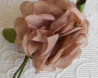 1940's Taupe Silk Rose