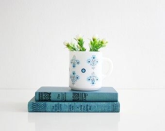 Vintage Aqua Blue Flowers Milk Glass Mug by Glasbake / Mid Century Coffee Mug