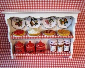 Dollhouse shelf, red,white shelf, Miniature filled shelf, dollshouse shelf, kitchen shelf,  country style shelf, twelfth scale,