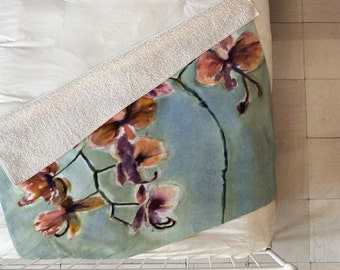 Orchids Sherpa Throw Blanket