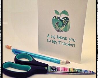 A Big Thank You To My Teacher - Iris folded scene greeting card