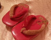 ON SALE Red Girls Japanese Shoes Beautifully Painted Wooden  Pokkuri Geta
