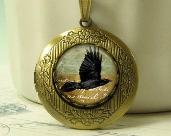 Ancient Crow Locket Antiqued Brass Raven Aqua Sky Keepsake Necklace