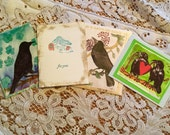 Crow notecards variety crow with flower Raven Pair Heart Card set Raven with confetti