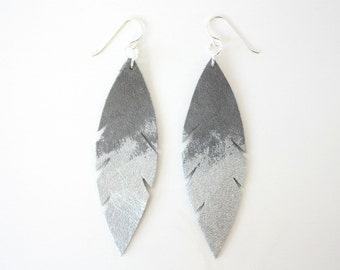 Metallic Dipped Leather Feather Earrings -  Grey Suede and Silver with Sterling Silver