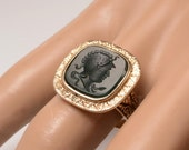 Vintage 14kt Bloodstone INTAGLIO Ring:  Size 7  -  unisex - can be sized