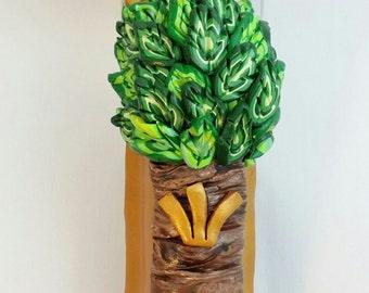 Tree of Life Mezuzah Cover - gold shin