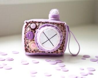 Lilac Leopard Plush Camera