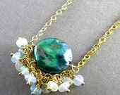 BIGGEST SALE EVER Blue Peacock Pearl and Ethiopian Opal Gold Filled Cluster Necklace