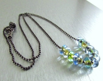 20 % Off Vintage Glass And Oxidized Sterling Silver Necklace