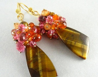 BIGGEST SALE EVER Tigers Eye and Gemstone Cluster Dangle Gold Earrings