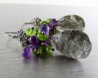 Rutilated Quartz With Amethyst and Peridot Oxidized Sterling Silver Cluster Earrings