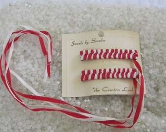 retro 1970's woven ribbon barrettes NEVER USED red and white woven ribbon, braided ribbon