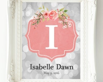 Coral Gray Nursery Wall Art, Personalized Name Print, Baby Girl Nursery, Baby Gift, New Mom Gift, Coral Nursery Decor, Wall Decor Girl