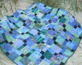 Blue an Green Batik Lap Quilt Baby Quilt