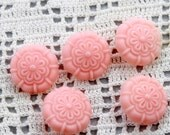Vintage Ballerina Pink Carved Floral Shank Buttons - Celluloid, 20mm, 1940s (5)