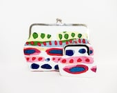 Colorful Clutch, Daytime Clutch, Fun Purse, Purse Set, Holiday Gift Set, Gifts for Her, Metal Frame Clutch, Gifts Under 50, Bright Abstract