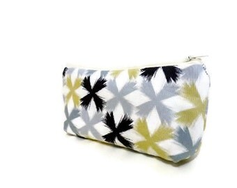 Small Pouch Small Wallet Small Coin Purse Gold, Black and Grey Print