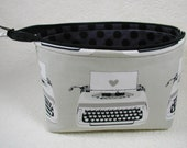 Open Wide Flat Bottom Zipper Pouch... Typewriters in Black and White