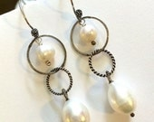 CUPID SALE Pearl Earrings, Oxidized Silver Earrings, Pearl Hoop Earrings, Pearl Dangle Earrings, Wire Wrap Everyday Freshwater Pearl Gift fo
