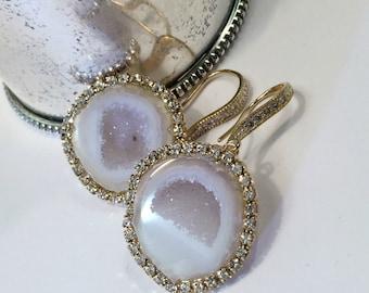 Ivory White Geode Gemstone Slice Earring Pave Diamond Style Swarovski Crystal Statement Wedding Earring Tabasco Geode Raw Slice - Theresa