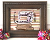 Sewing forever framed mixed media vintage sewing machine original collage