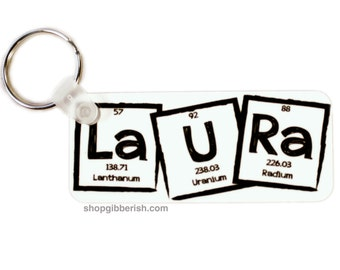 Science Keychain - Custom Name + I <3 NErDs - Periodic Table of Elements - Chemistry Teacher, Gift Idea