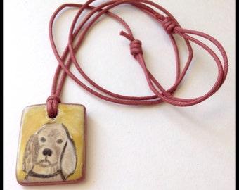 Tan Spaniel Handmade Majolica Glazed Ceramic Tile Pendant