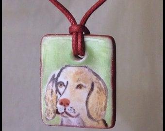 Lemon Spaniel Mix Handmade Majolica Glaze Ceramic Tile Pendant