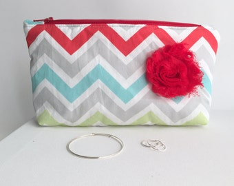 Jewelry Organizer. Anti Tarnish. Chevron, Red, Aqua, Lime and Gray
