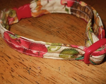 Handmade Kitty Cat Collar with Apples  and Break Away Buckle