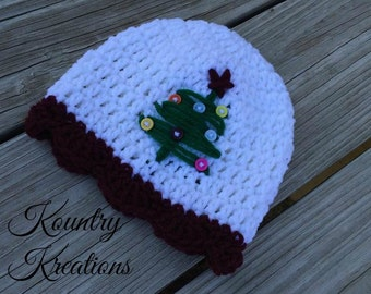CROCHET Christmas Tree Hat, Crochet  Hat,Christmas Tree, Baby Hat,Toddler Hat,Tree Hat,Newborn, Adult, Christmas (Ready to Ship)