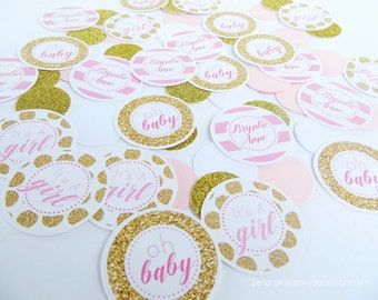 Pink and Gold Baby Shower, Table Confetti, Baby Shower Decorations, Kate Spade Baby Shower, Customized