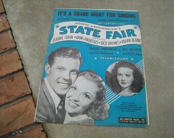 1945  vintage sheet music (  State Fair  ) Rogers & Hammerstein's