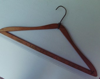 Vintage Wooden Advertising Hanger Langley's Limited Cleaners Collectible Rustic Craft Project Mixed Media Art Supply