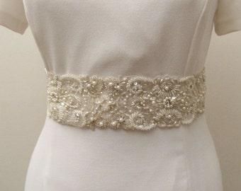 Pearl Bridal Wedding Sash, Bridal Pearl Belt, Wedding Pearl Belt, Ivory Extra Wide Pearl Trim, Pearl Beaded Wedding Belt, Pearl Rhinestone