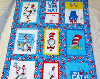 New handmade Dr Seuss Cat in the hat toddler quilt