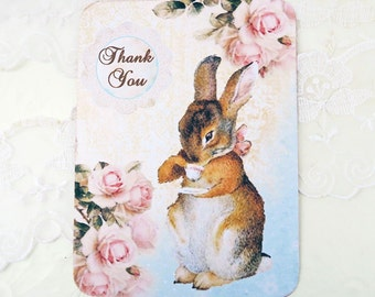 Rabbit Note Cards, Blank Note Cards, Thank You Baby Shower Note Cards, Vintage Style, Bunny Rabbit Notes, Rabbit Notes, Cards Australia