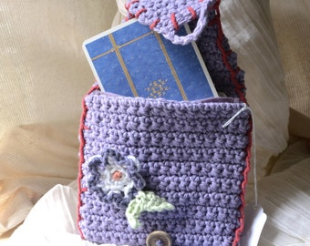 Wisteria Envelope Clutch Bag w/ Liner - Free US Shipping -Handmade, Hand Crocheted OOAK -Purple, Travel, Tarot, iPod, Clutch, Purse, Tote