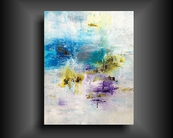 Abstract Painting on Gallery Stretched Canvas Large Modern Wall Art for Contemporary Home Decor 24 x 30 blue purple white green