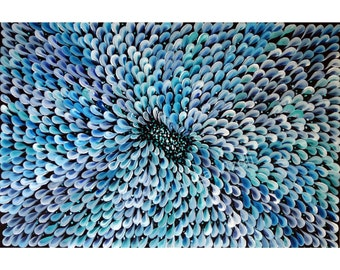 BLUE WHITE ORIGINAL Modern Abstract Flower Painting Large Canvas Fine Art by Luiza Vizoli