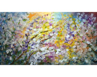 Original Large Painting Spring Blossom Floral Abstract HUGE Canvas 64x36 ready to ship ...see how it is made photo 2