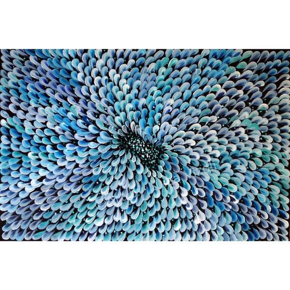 ORIGINAL Modern Abstract Flower Painting Large Canvas Fine Art by Luiza Vizoli Blue DAISY PETALS