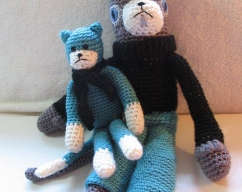ON SALE Handmade Charming Cat Duo Hand Crocheted Cat with French Beret Amigurumi Dressed Cat with Friend Made OOAK