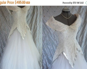 ON SALE Wedding Dress // 50 Dress //  Vintage 1950's White and Silver Tulle Prom Dress Wedding Lame' Size S 26 waist