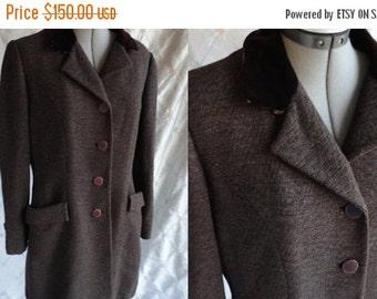 ON SALE 40s 50s Coat // Stroock //  Vintage 1940's 1950's Brown Wool Coat with Velvet Collar by Stroock Size M L