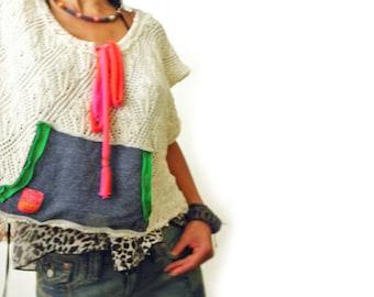 Pearl Boho Crochet Slouchy tee