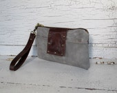 Gray Waxed Canvas & Distressed Leather Smartphone Wallet, iPhone 6 Plus, Wallet, Wristlet, Small Purse, Travel Organizer